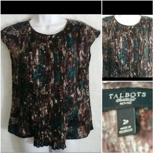Talbots Watercolor Pleated Blouse